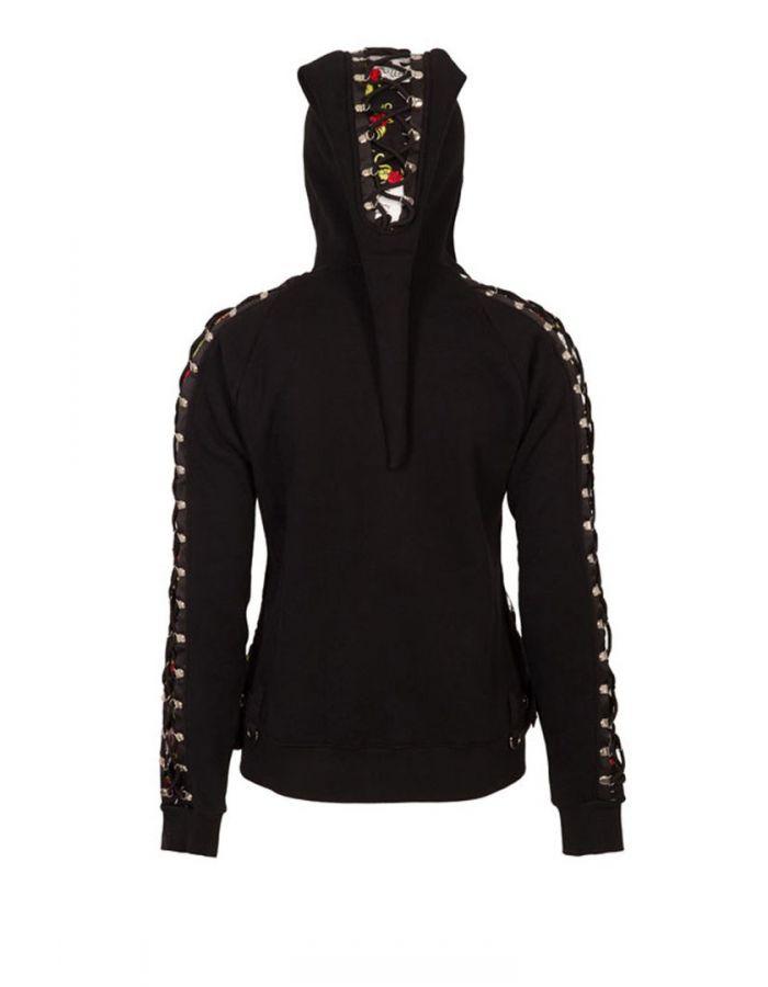Unique Gothic Skull Web Rose Black Pixie Hoodie
