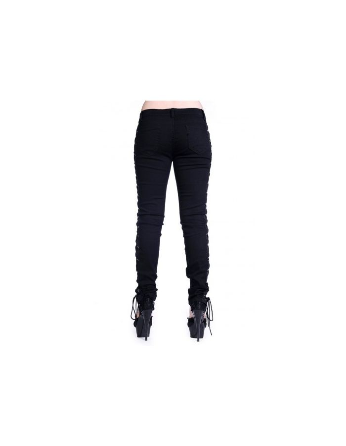 Banned Black Unique Gothic Corset Style Skinny Jeans