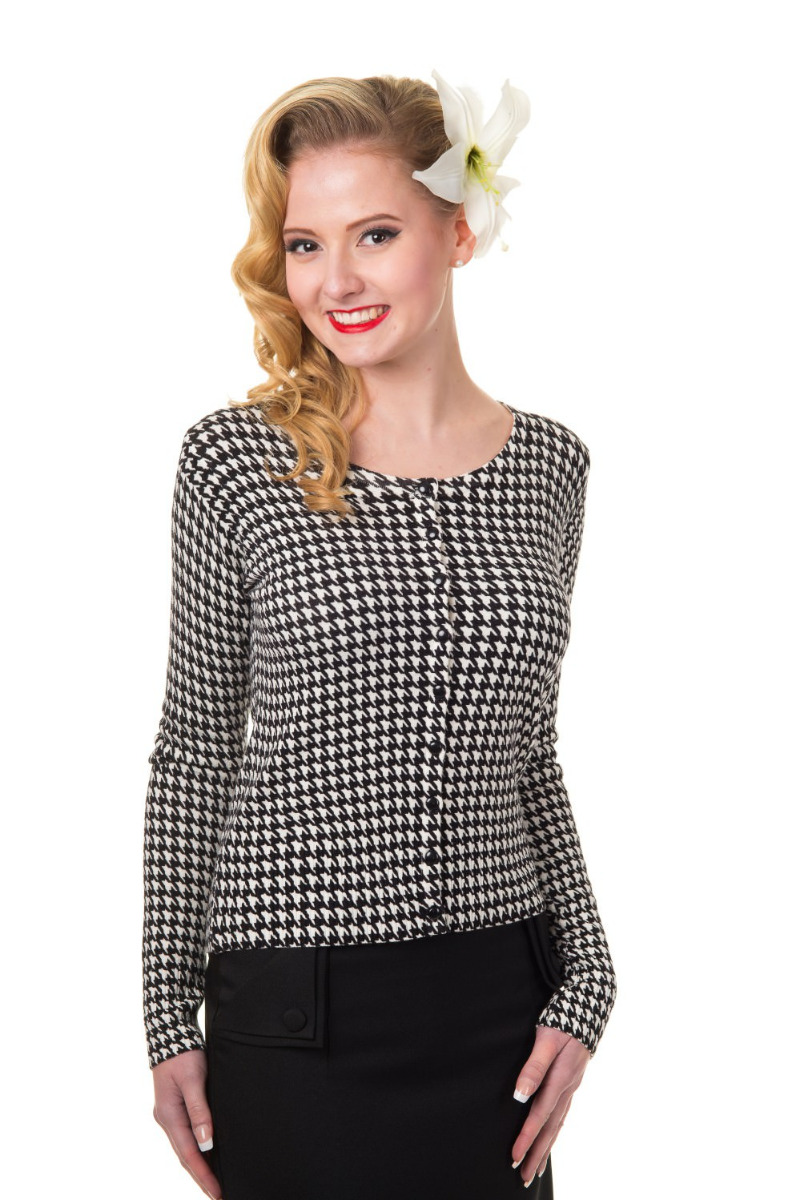 Alternative Classic Houndstooth Vintage Pin-Up Rockabilly Retro 50's Cardigan