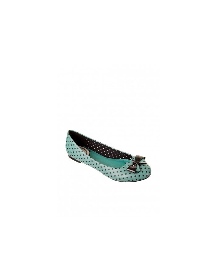 Banned Retro Vintage Mint Polka Dots Bow Ballerina Pumps Shoes