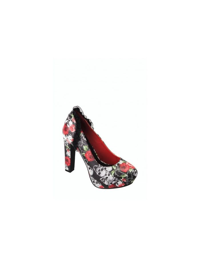 Banned Skull & Roses Rockabilly Platform Pump High Heels Shoes