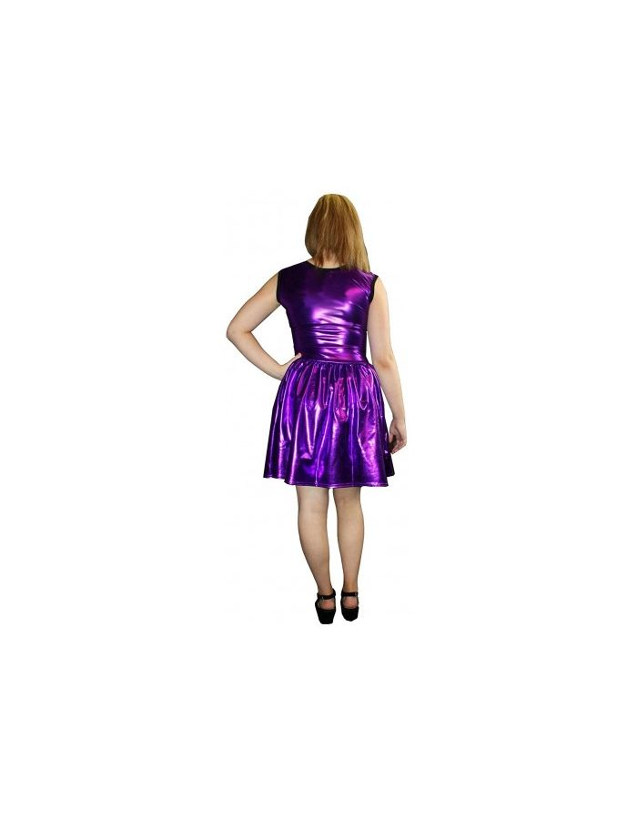 Women's Purple Metallic Wetlook Rockabilly Swing Sleeveless Gathering Dress