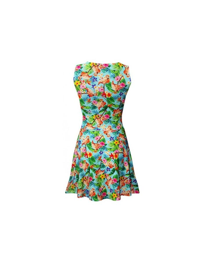 Tropical Flamingo Flowers Floral Retro Vintage Sleeveless Skater dress