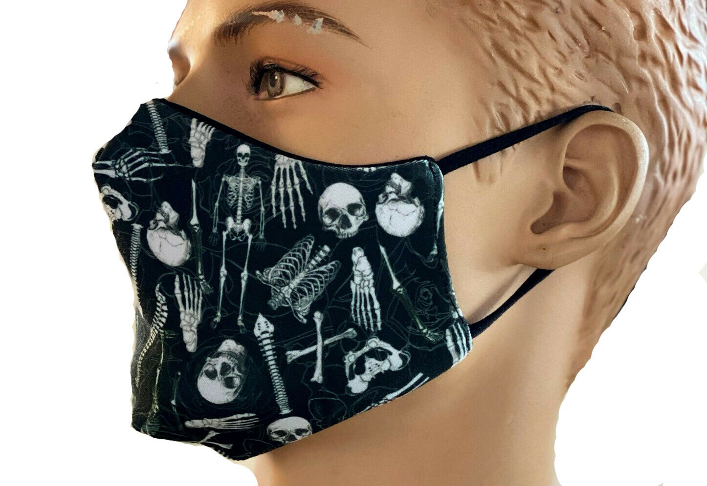 Gothic Skeletons Skulls Anatomy Bones Ribcage Heart Print Reusable Washable Face Covering Masks