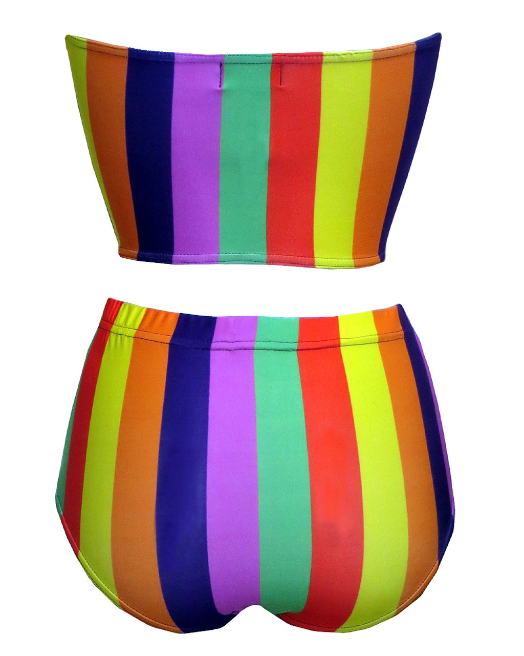Funky Multicoloured Rainbow Vertical Stripes Crop Bandeau High Waist Bikini Pants Coord Set