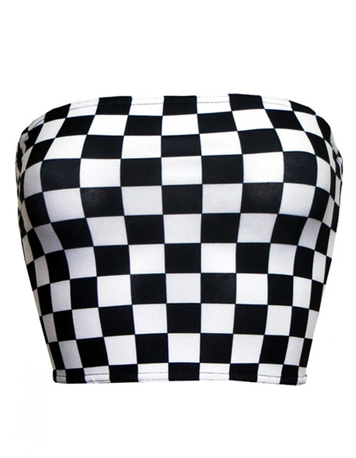 Monochrome Chequered Chess Board Crop Bandeau High Waist Bikini Pants Coord Set