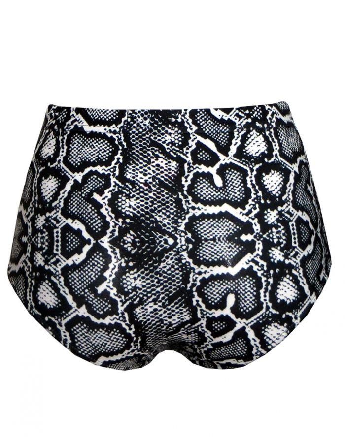 Classic Monochrome Snake Python Skin Print High Waist Bikini Bottoms