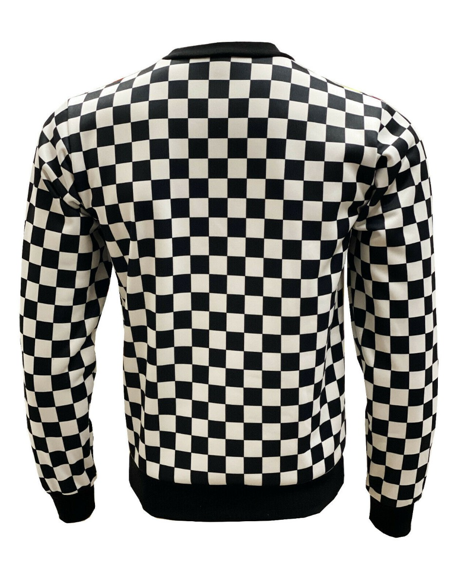 Funky Colourful King Crown Skull Chequer Printed Crew Neck Sweatshirt Jumper