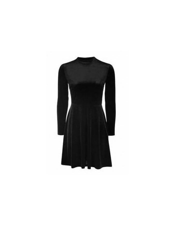 Gothic Black Velvet Velour Alternative High Neck Printed Long Sleeve Velvet Skater Dress