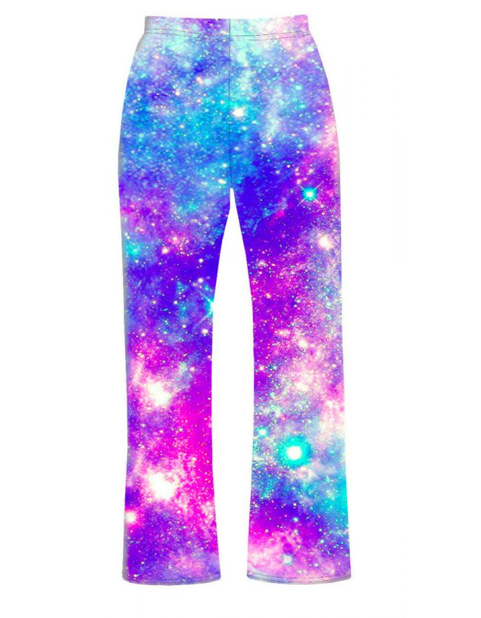 Multi Galaxy Blue Space Stars Printed Loungewear Sleepwear Pyjama Bottoms