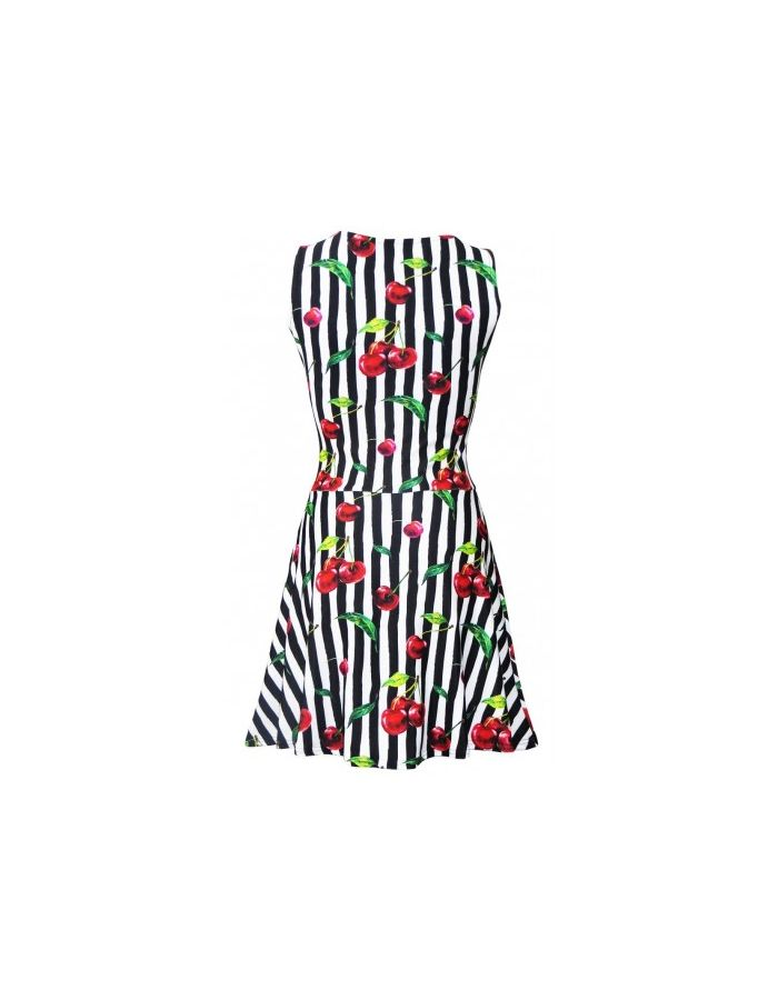 Cherry Tart Monochrome Striped Vintage Retro Print Skater Dress