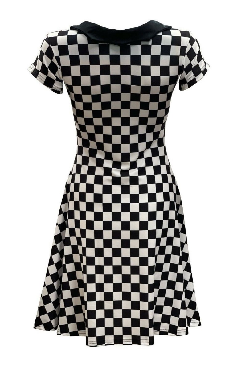Check Mate! Checker Chess Mono Checker Board Abstract Printed Collar Dress