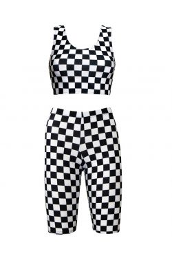 Monochrome Chequered Chess Board Sleeveless Crop Top Cycle Shorts Coord Set