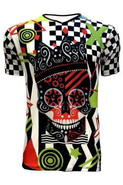 Funky Colourful King Crown Skull Chequer Men's V-Neck Designer T-Shirt Tee