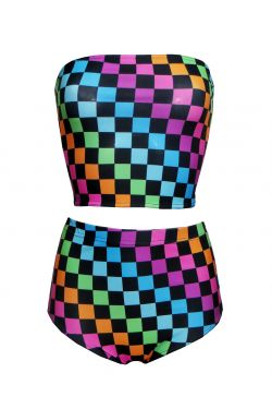 Rainbow Coloured Check Squares Print Crop Bandeau Top High Waist Bikini Pants Coord Set