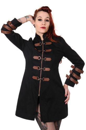 Black & Copper Victorian Steampunk Style Buckles Jacket