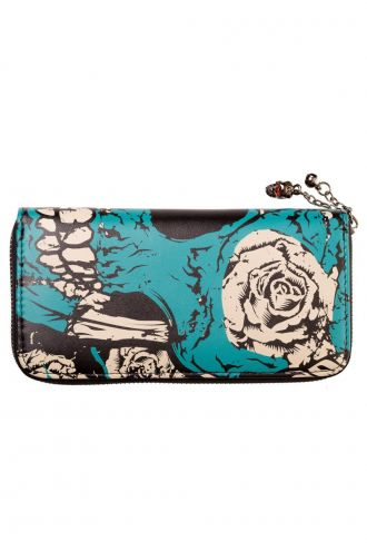 Banned Gothic Blue Skull Rose Wallet Purse