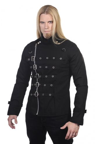 Black Metal Cuff Bondage Style Mens Jacket
