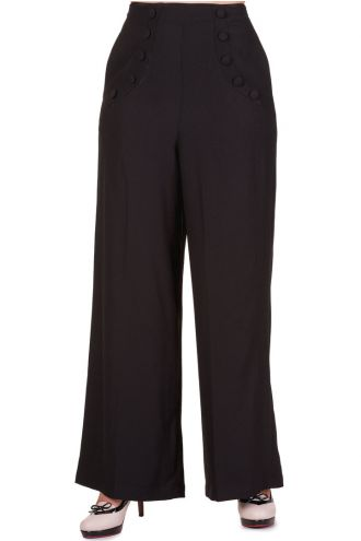 Banned Black High Waisted 50s 70s Flared Trousers
