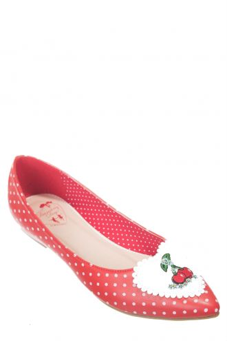 Banned Vintage Retro Cherry Polkas Pointed Ballerina Pumps Shoes