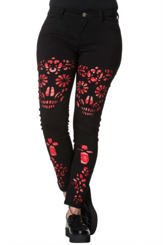 Banned Gothic Sugar Skull Roses Cross Rockabilly Trousers