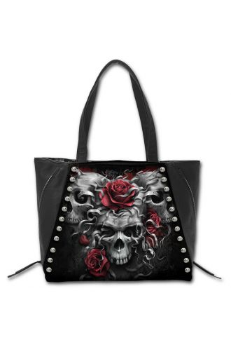 SKULLS N' ROSES Tote Shopper Handbag High Grade PU Leather With Metal Studs