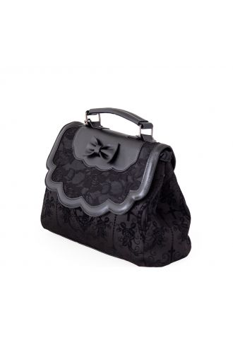 Gothic Floral Lace Bow Chain Flocked Cameo Skeleton Shoulder Hand Bag