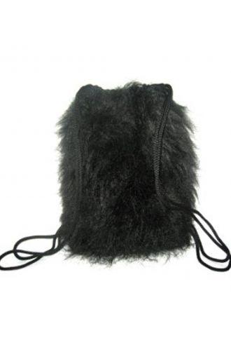 Black Reflective Long Fluffy Furry Fabric Backpack Hand Bag