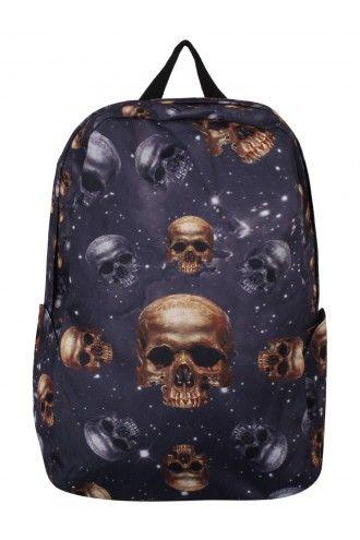 Banned Purple Galaxy Skulls Hooded Backpack Rucksack Bag
