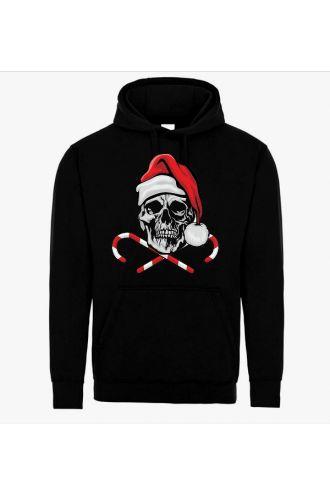 Unisex Christmas Skull Candy Canes Hoodie Santa Pull Over Fleece Jumper Sweatshirt