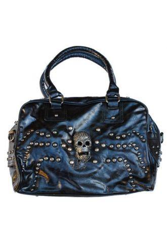 Black Studded Skull Handbag