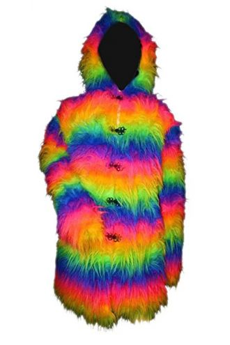 Neon Rainbow Long Fluffy Coat