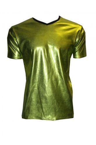 Men's Metallic Wetlook Shiny PVC Green T-Shirt Club Wear Rave