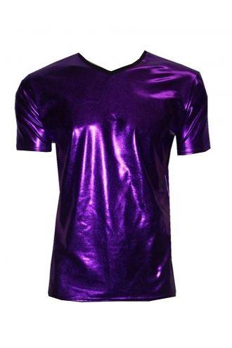 Men's Metallic Wetlook Shiny PVC Purple T-Shirt Club Wear Rave