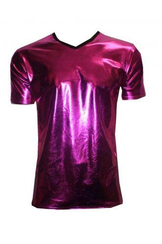 Men's Metallic Wetlook Shiny PVC Pink T-Shirt Club Wear Rave