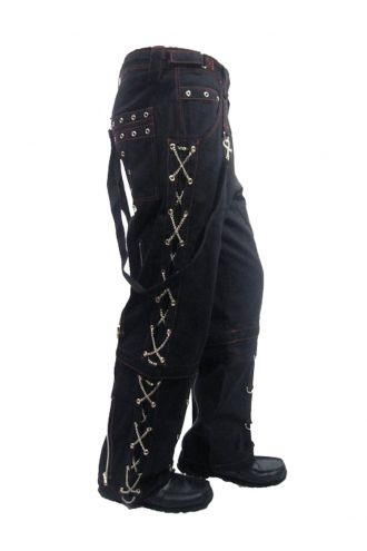 Men's Unique Black And Red Stitch X-Chains Bondage Baggy Skater Trousers Pants Goth Punk Emo