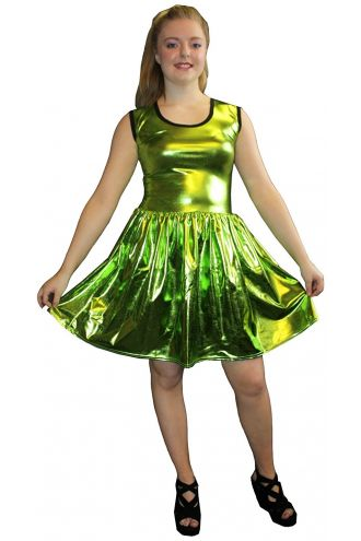 Women's Green Metallic Wetlook Rockabilly Swing Sleeveless Gathering Dress