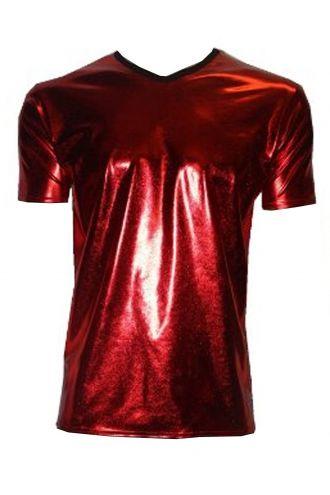 Men's Metallic Wetlook Shiny PVC Red T-Shirt Club Wear Rave