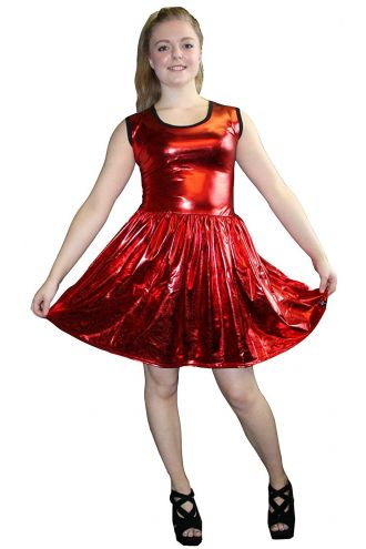 Women's Red Metallic Wetlook Rockabilly Swing Sleeveless Gathering Dress