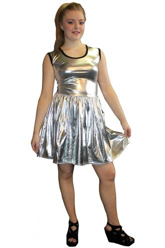 Women's Silver Metallic Wetlook Rockabilly Swing Sleeveless Gathering Dress