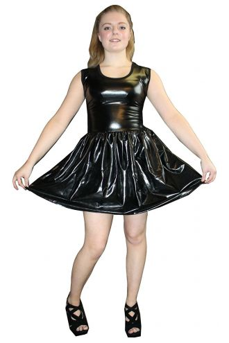 Women's Black Metallic Wetlook Rockabilly Swing Sleeveless Gathering Dress