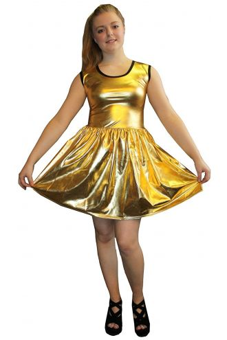 Women's Gold Metallic Wetlook Rockabilly Swing Sleeveless Gathering Dress