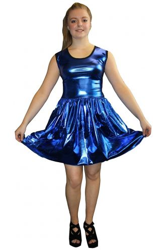 Women's Blue Metallic Wetlook Rockabilly Swing Sleeveless Gathering Dress