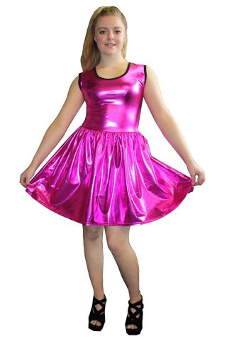 Women's Pink Metallic Wetlook Rockabilly Swing Sleeveless Gathering Dress