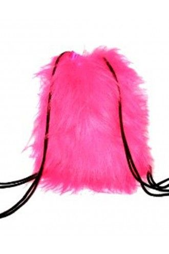 Pink Reflective Long Fluffy Furry Fabric Backpack Hand Bag