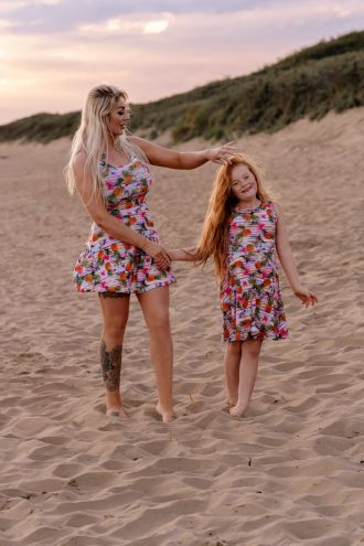 Mom And Me Tropical Floral Exotic Pineapple Birds Stripe Pattern Printed Sleeveless Skater Dress