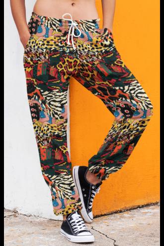 Unisex Traditional African Wild Animal Fleece Printed Sweatpants Jogging Bottom