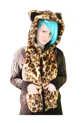 Fluffy Animal Leopard Print Fur Scarf