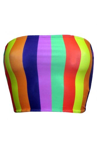 Funky Multicoloured Rainbow Vertical Stripes Crop Bandeau Top