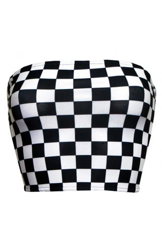 Monochrome Chequered Chess Board Crop Bandeau Top